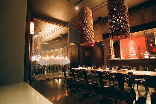 An image showing an elegant interior of a chic restaurant.