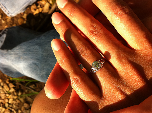 A close up image of a hand with an engagement ring on it.
