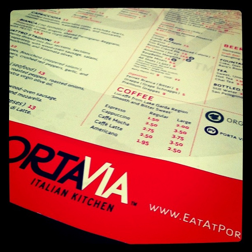 A close up image of a menu of Portavia Italian Kitchen.