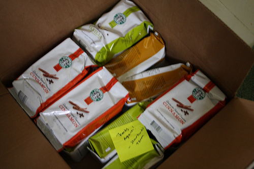 A box full of Starbucks Natural Fusions coffee.