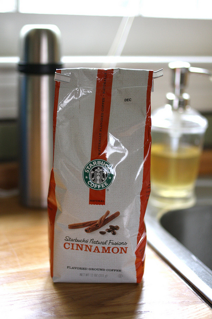 A close up image of Starbucks Natural Fusions coffee cinnamon flavored.