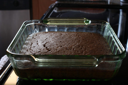 An image of a newly baked chocolate cake.