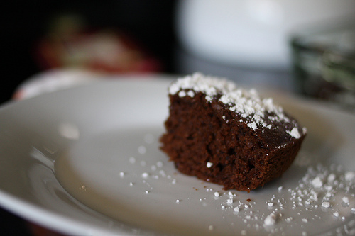 An image of chocolate slice with frosting.