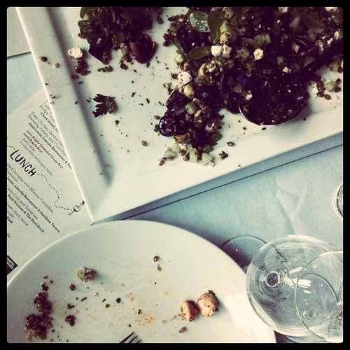 An image of plates with leftover food and crumbs.