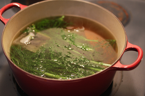 A top view image of a red pot filled with fennel leaves and water.