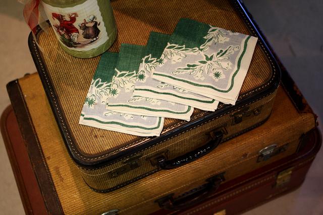 vintage napkins and vintage suitcases