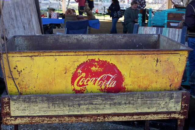coca cola sign at nashville flea