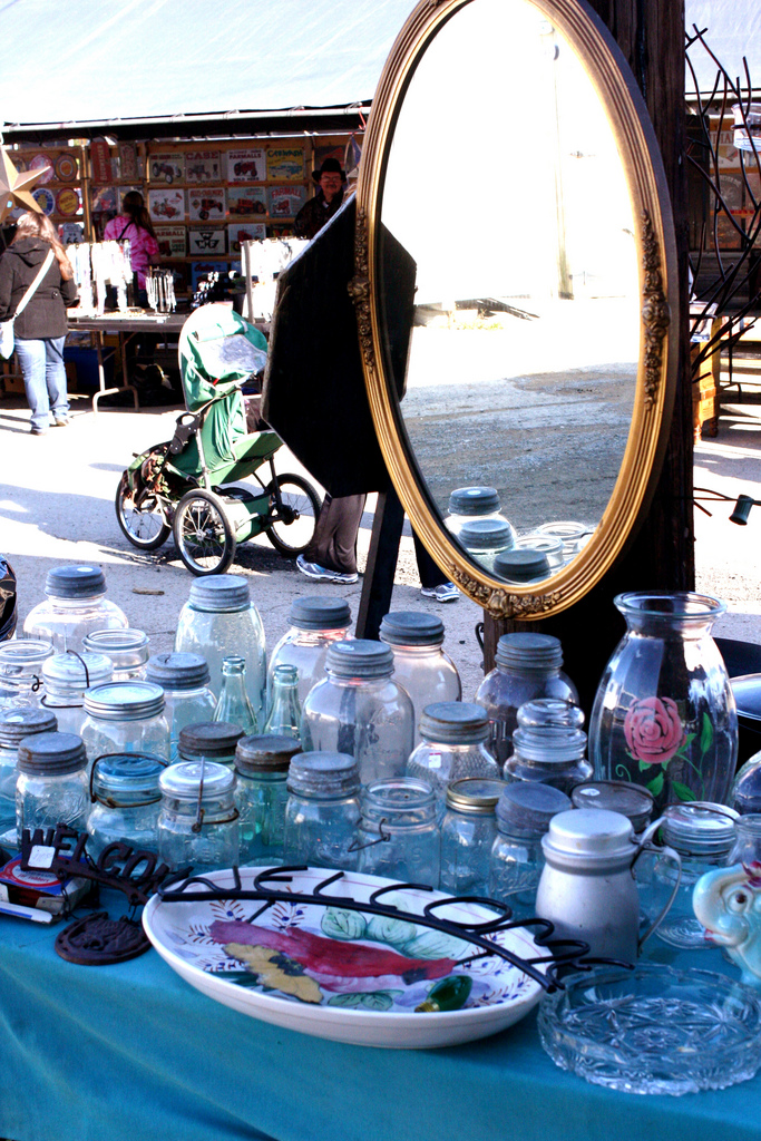 mason jars and mirrors at nashville flea