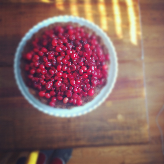 A top view image of a cranberry tart.