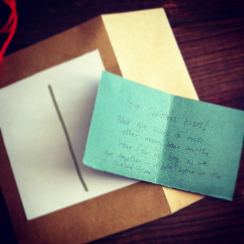 An image of an envelope with a short note inside.