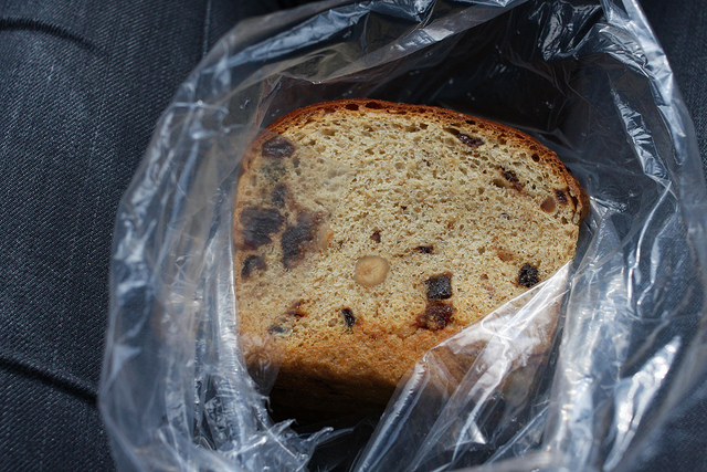 An image of a delicious bread still in its plastic wrapping.