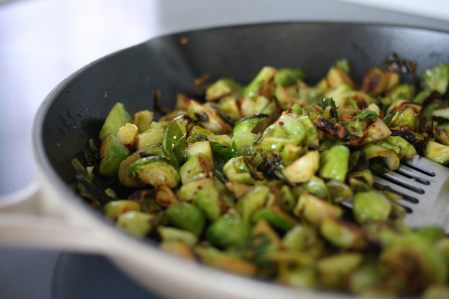 A close up image of a delicious Brussels Sprouts dish.
