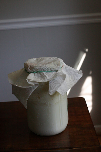 An image showing a glass covered with a white cloth.