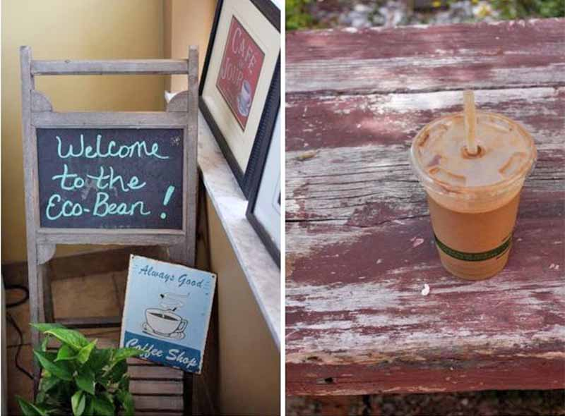 Dual image of the chalkboard sign welcoming guests to the Eco Bean cafe, and a plastic cup of iced coffee on a weathered wooden bench.