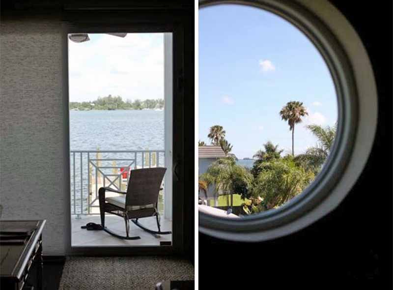 Dual image of a front patio with rocking chair facing the water, and a round porthole window with palm trees visible outside.