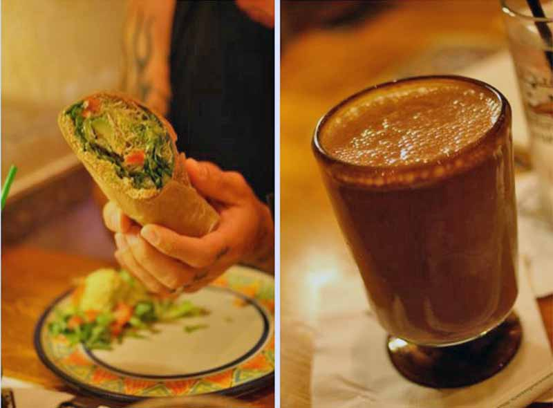 A dual image of a woman holding a burrito on the left, and a glass of a frothy brown drink on the right.