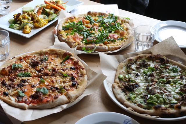 Pizzas at La Bicyclette