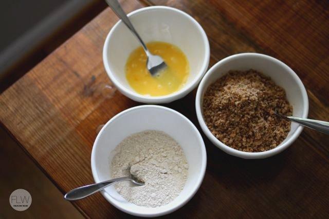 bowls of flour, egg, bread crumbs