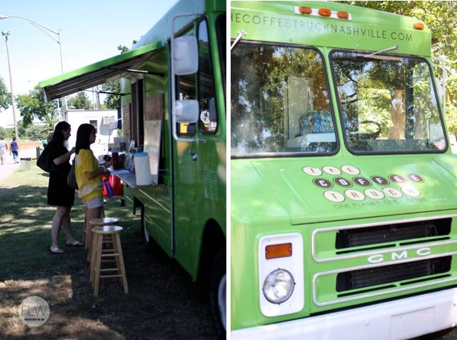 A green food truck in Nashville, TN.