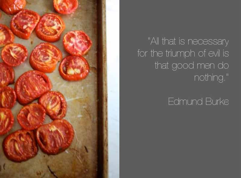Oven-dried tomatoes next to a quote on a gray background.