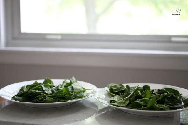 Baby spinach on plates
