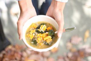 Sweet Potato and Tatsoi Soup