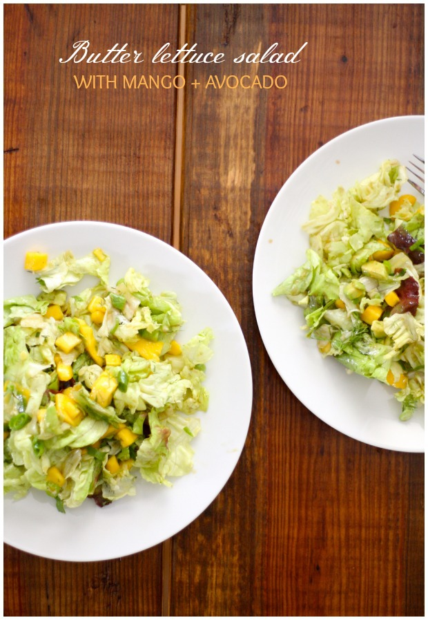 Butter Lettuce Salad with Avocado and Mango