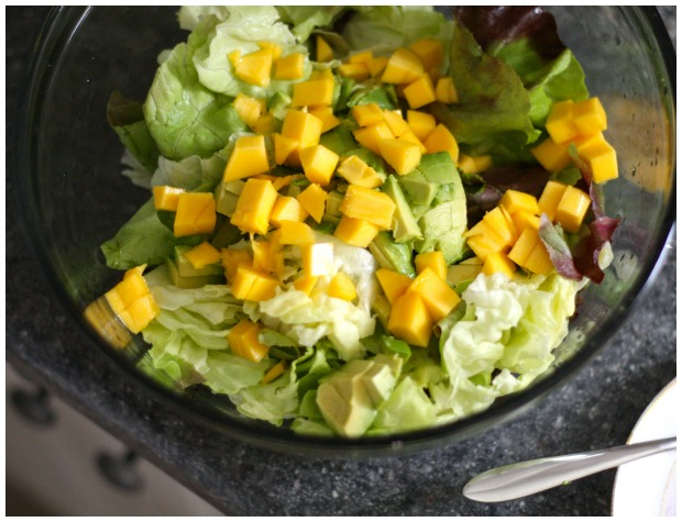 Butter Lettuce Salad with Avocado and Mango-in-salad