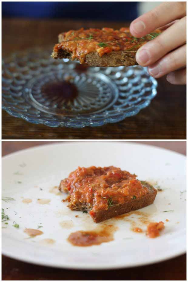 A collage of photos showing multiple views of the Balsamic Tomato & Fresh Fennel Sauce recipe spread on top of toasted bread.