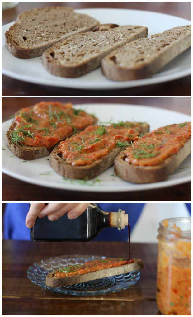 A collage of photos showing different views of the Balsamic Tomato & Fresh Fennel Sauce for Bruschetta being made and consumed.