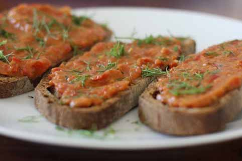 Slices of toasted whole wheat sour dough with a Balsamic Tomato & Fresh Fennel Sauce for Bruschetta sauce spread on top. Close up.