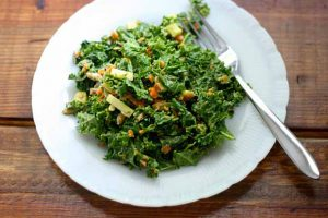 Creamy & Colorful Raw Kale Salad with Avocado-Lemon Dressing