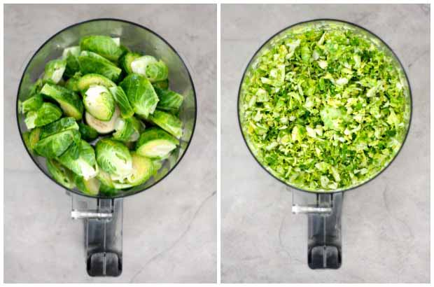 A collage of two photos showing Brussels sprouts being shredded in a food processor.