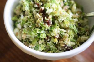 Shredded Brussels Sprouts Salad with Toasted Walnuts & Dates