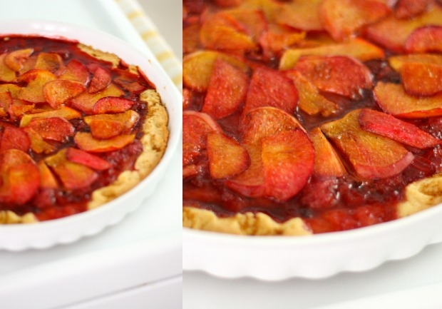 strawberry peach tart with shortbread cookie crust