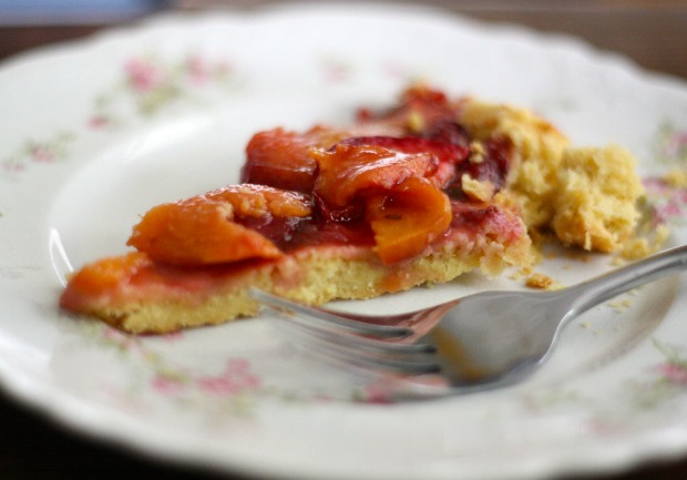 strawberry peach tart slice