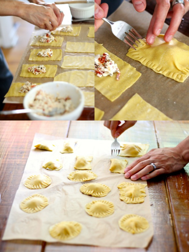 arranging and making ravioli