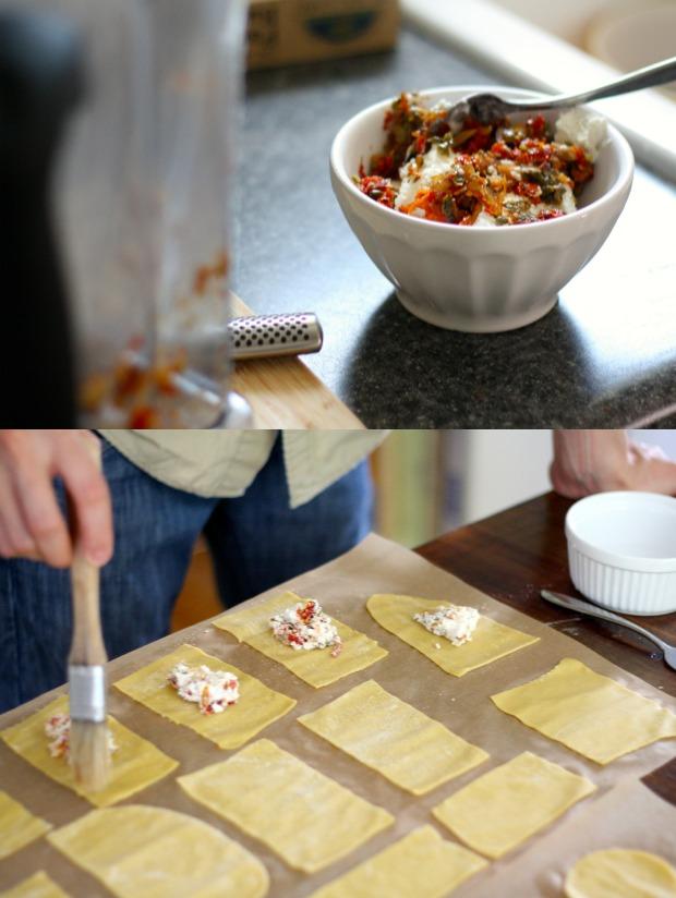 stuffing the ravioli