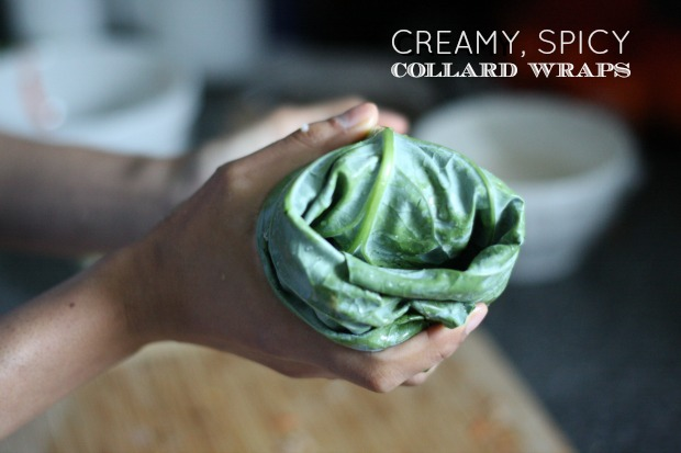 Creamy, Spicy Collard Wrap being held in a female hand.