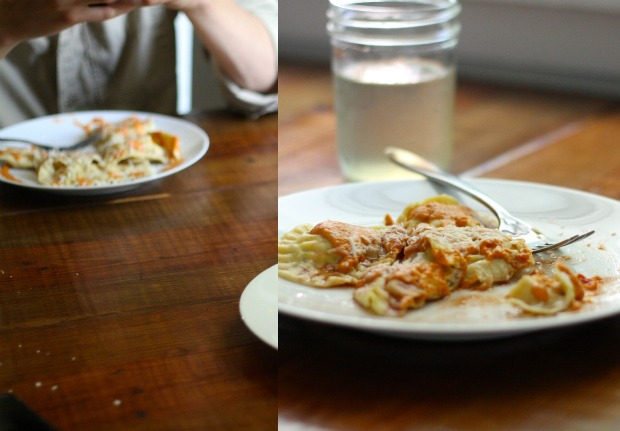A collage of different views of homemade Einkorn Ravioli.