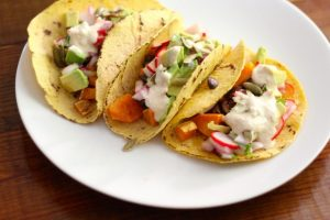 Sweet Potato, Mushroom + Radish Slaw Tacos