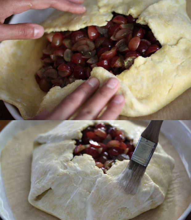 forming and brushing grape galette dough