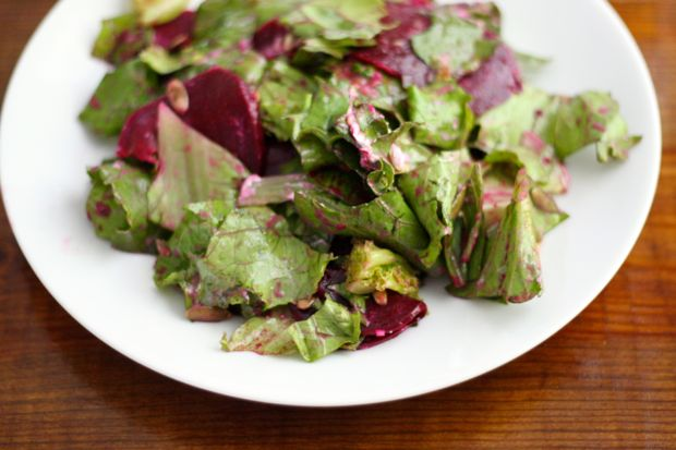Beet and Lettuce Salad with Green Onion Vinaigrette