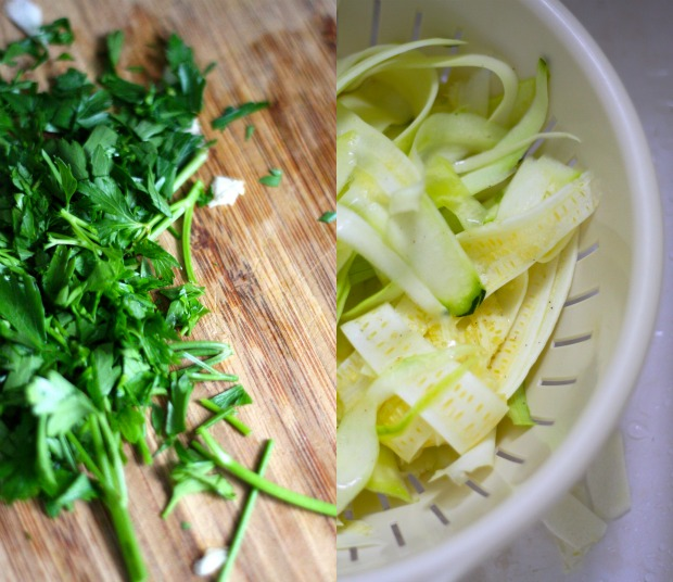 Zucchini Ribbons in a Vegan Pesto Alfredo Sauce