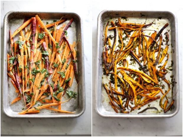 Herb-Roasted Carrots and Pesto Tartines