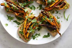Easy Herb-Roasted Carrot and Pesto Tartines