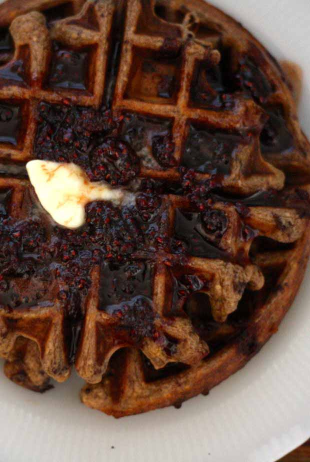 Close up, top down view of a Chocolate Chip Einkorn Belgian Waffle.