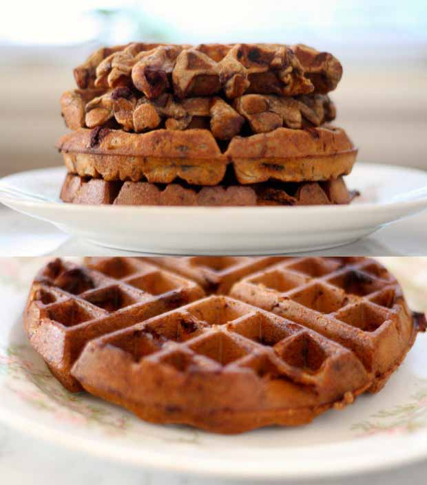 A collage of photos showing lateral and oblique views of Chocolate Chip Einkorn Belgian Waffles.