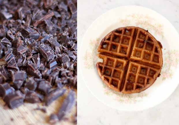 A collage of two photos showing chopped chocolate and a completed waffle.