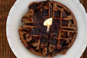 Chocolate Chip Einkorn Belgian Waffles